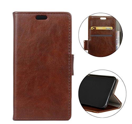 Sunrive Hülle Für Alcatel A7 XL, Magnetisch Schaltfläche Ledertasche Schutzhülle Case Handyhülle Schalen Handy Tasche Lederhülle(Crazy-Pferd braun)+Gratis Universal Eingabestift