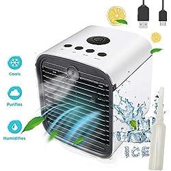 Nifogo Climatiseur Portable Air Mini Cooler, 3 en 1 Rafraichisseur d'air Ventilateur, Mobile Climatiseur, Humidificateur Purificateur,Anti-Fuites, Nouveau Filtre (New)