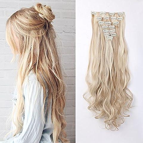 Stylisches 61cm (61cm) Full Head Clip in Hair Extensions 8Stück 18Clips 2Tones Mix gewellt Sandy Blond & Bleach Blonde