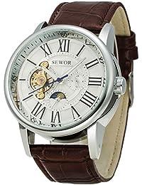 SEWOR reloj para hombre Tourbillon automático, tamaño grande fase de la luna mecánico marrón de piel Para Muñeca relojes esfera blanca