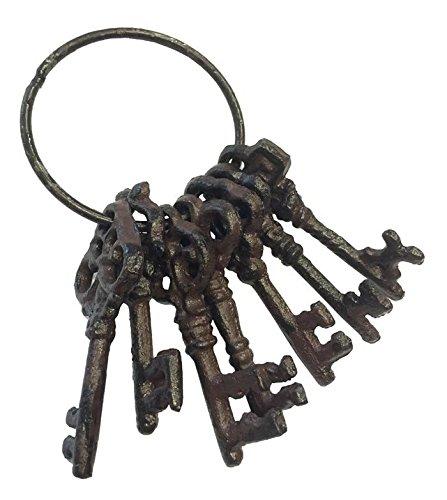 Deko Schlüsselbund Nostalgie 7 Schlüssel Gusseisen Vintage Antik-Stil Braun (Gusseisen Vintage)