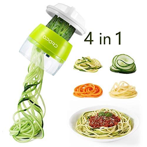 Opard 4 in1 Spiralschneider Hand für Gemüsespaghetti, Gemüseschneider, Gemüse Spiralschneider Gemüsehobel für Karotte, Gurke, Kartoffel, Kürbis, Zucchini