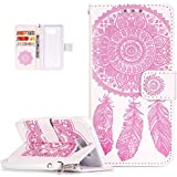 "Coque Galaxy A3 2016,Etui Galaxy A3 2016, ikasus® Coque Galaxy A3 2016 Bookstyle Étui Housse en Cuir Case, Motif Gaufrage Feather Campanula Dreamcatcher Etui Housse Cuir PU Portefeuille Folio Flip Case Cover Wallet Coque Protection Étui avec Flex Soft Silicone TPU et Fonction Support Fermeture Aimantée Carte de crédit Logement Poches Case Coque Housse Étui pour Samsung Galaxy A3 (2016) SM-A310F (4,7"") - Blanc + rose"