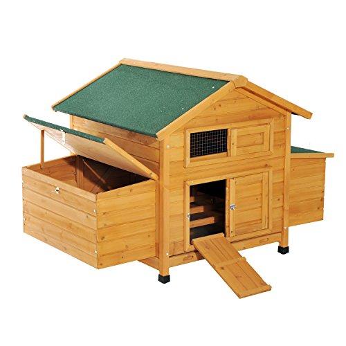 Pawhut pollaio gabbia per 4-6 galline da giardino con 2 cassetti nido tetto impermeabile in legno 150x100x96.5cm