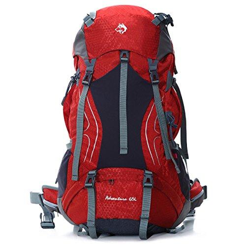 Outdoor Bergsteigen Tasche Groß Kapazität Langstrecken- Reise Rucksack 65L Red