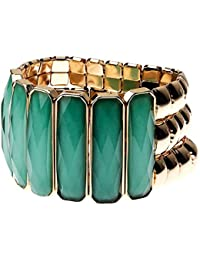 Jodie Rose Green and Gold Stretch Bracelet of 3.8 cm