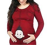 D-Pink Damen Umstands-Oberteil Top T-Shirt witzige Baby Loading Schwangerschaft Langarm Shirt (XL, Rote)