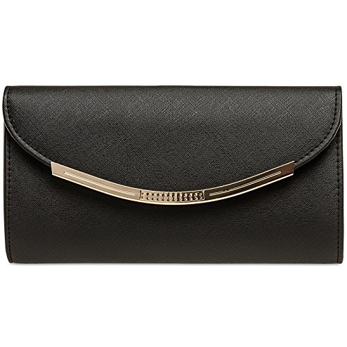 CASPAR TA383 elegante Damen Baguette Clutch Tasche / Abendtasche Schwarz