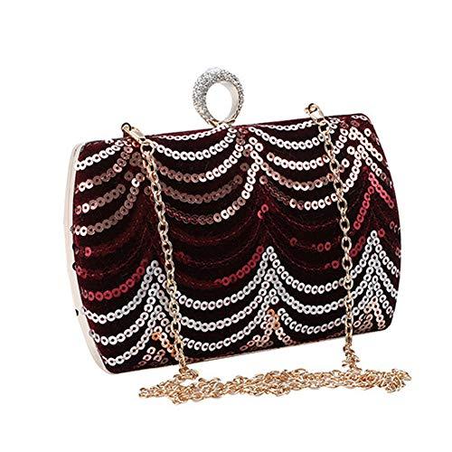 Lxmhz Frauen Abend Kupplung-Tasche Sequins Beads Handtasche Bride Geldbeutel Totes Tasche für Hochzeit Party Dinner Night Bridal Geschenk für Geburtstag,Red -
