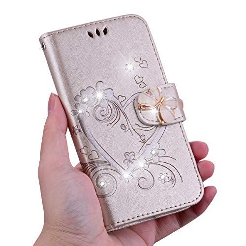 KM-Panda Kompatibel für Apple iPhone 5 5S SE Leder Hülle Tasche Herz Schmetterling Diamant Glitzer Gold Schutzhülle Handytasche Handyhülle Lederhülle Flip Case (Iphone 5s Case Gold Diamant)