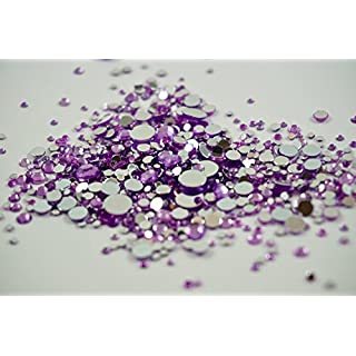 Purple Rhinestones, 500 Per Pack, Mixed Sizes, Flat Back, Acrylic Gems / Crystals