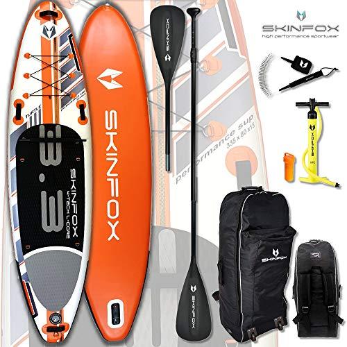 SKINFOX Turtle aufblasbar SUP Board Paddelboard Stand Up NEUESTE SUP Generation 4 TECH L-CORE (335x80x15/Tragkraft 180 kg) ALU-Set orange TESTSIEGER 18 (Board,Bag,Pumpe,ALU SUP-/Kayak Paddel+Leash)
