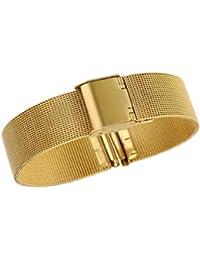 18 mm de alta gama malla metálica de malla de oro unisex pulseras de reloj de tamaño ajustable hebilla deslizante