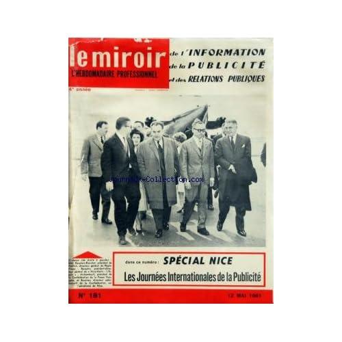 MIROIR DE L'INFORMATION DE LA PUBLICITE ET DES RELATIONS PUBLIQUES (LE) [No 181] du 12/05/1961
