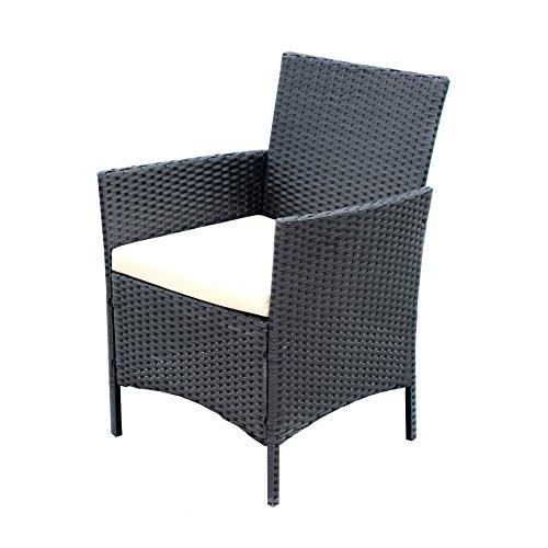 EBS® Polyrattan Gartenmöbel set Gartengarnitur Sitzgruppe Lounge Garnitur 1 Tisch 3 Stühle Weiß Sitzkissen - 5