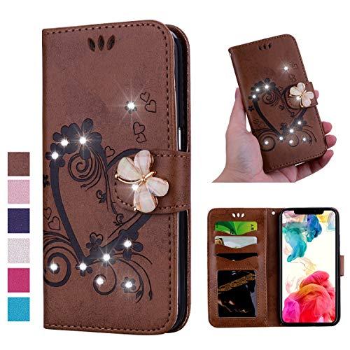 V-Ted Flip Case Lederhülle kompatibel für Samsung Galaxy A40 Hülle Leder Glitzer mit Muster Herz Schmetterling Handytasche Ledertasche klapphülle Wallet Cover Tasche Etui -Braun