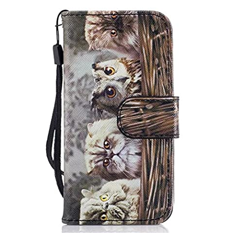 Apple iPhone 5 / 5S / SE Case, Chreey Animal World Funny Series Leather Flip Phone Case / Cover / Skin [Cat & owl] + Magnetic Closure Wallet Card Slots and