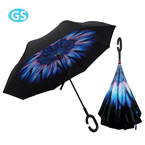Paraguas Manos Libres, Invertido Prueba de Viento Sombrilla Impermeable con Mango Forma de C Mejor para Viajar ( Hechicera Azul )