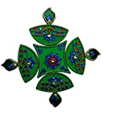 Handmade Elegantly Designed Green Rangoli - With Diya Shaped Design Decorated With Stones And Beads On Green Elongated Square Shaped Plastic Base - 5 Pieces Set - Packed In Transparent Pouch