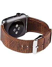 Apple Watch Banda Series 1 & 2, FUTLEX de 42mm , Banda para la muñeca de cuero Heritage auténtico, repuesto de correa con broche para Apple Watch - Café - Adaptadores Incluidos