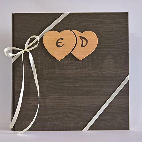 Album fotografico innamorati carta effetto legno scuro + cuori legno e iniziali personalizzabili - Album Handmade Wedding Photo