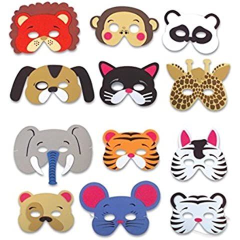 Rhode Island Novelty 12 Assorted Foam Animal Masks for Birthday Party Favors Dress-Up Costume by Rhode Island Novelty - Rhode Island Costume