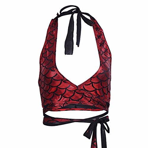 Oberteile Meerjungfrau Fisch Skala Hologram Stretch Weiches Vest Wetlook Bustier Bra BH Clubwear Gogo Kostüm Rot One Size (Kostüm Gogo)