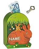 3-D Spardose Hase incl. Wunschname - mit Schlüssel - aus Holz - stabile Holzspardose - Hasen Sparbüchse Sparschwein - für Kinder