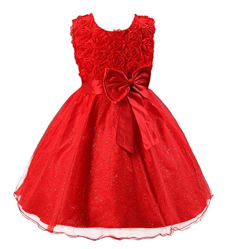 SMITHROAD Kinder Mädchen Prinzessin Schwingen Kleid Festlich Taufkleid Hochzeit Tüll mit Blumen Muster Dekor Ärmellos Rot Gr.146 (Halloween-dekor)