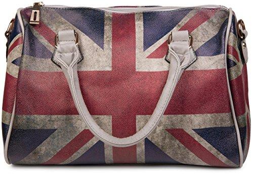 styleBREAKER Union Jack Handtasche im Großbritannien Vintage Design, Bowling Tasche, Henkeltasche, Damen 02012015 Modell-4 / Grau / mit abnehmbarem Trageriemen