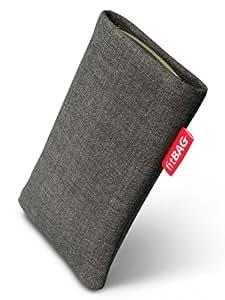fitBAG Jive Grau Handytasche Tasche aus Textil-Stoff mit Microfaserinnenfutter für HTC One M8 (neues Modell April 2014)