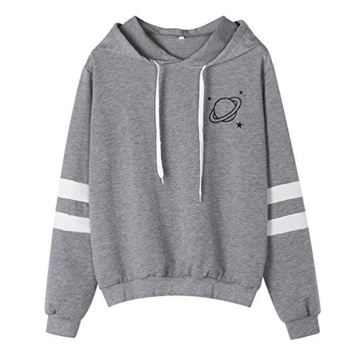 LHWY Bluse Damen Elegant, Mode Frauen Langarm Sweatshirt Printed Hoodie Streetwear Vintage Casual Tops Shirt Blusen Jugendliche Mädchen Frühling Herbst Kleidung (S, Grau)
