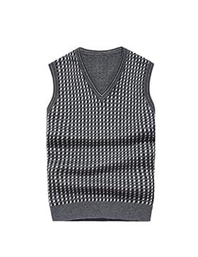 [Patrocinado]MYMYU lana de los hombres con cuello en v sin mangas chaleco diseño a cuadros prendas de punto casual jersey de...