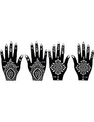 4 Feuilles Mehndi Tatouage Pochoir pour la main Mehndi Tatouages au henné s106 s103 - à usage unique - pour tatouage au henné, tatouage paillettes et aérographe tatouage