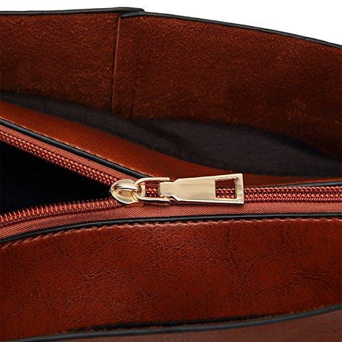 PB-SOAR Damen Elegant Stylisch Schultertasche Shopper Umhängetasche Ledertasche Handtasche Henkeltasche aus Kunstleder 35 x 30 x 9cm (B x H x T) (Dunkelrot) Braun