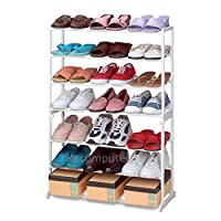 K-One 21 Pair Shoe Rack Tower 7 Tier Shelf Stand Unit White Lightweight Portable