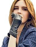 YISEVEN Damen Touchscreen Lammfell Lederhandschuhe lang Manschette mit Warm Gefüttert Elegant Winter Leder Autofahrer-Handschuhe, Schwarz Groß/7.5