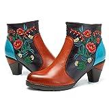 Socofy Botines de Cuero, Zapatos de Cuero de Invierno de Las Mujeres Botas Ocasionales Botines Calientes de Oxford con Botas Modelo de Zapatos de boemi Inclinados con Cuero de Tacón Alto con Talón