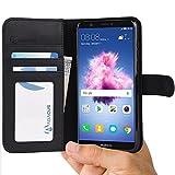 P Smart Hülle Tasche kompatibel mit Huawei P Smart Brieftasche [Abacus24-7] Handy-hülle/Leder-Tasche mit Ständer Fächern für Karten Bargeld, Handytasche Huawei P Smart Case Cover [Schwarz]