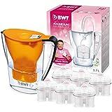 BWT ESPECIAL - Jarra de agua filtrante con magnesio modelo Penguin electrónica + pack 6 filtros BWT Magnesium Mineralizer, color naranja, capacidad 2,7 L