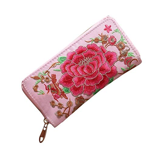 YUEKUOO Frauen Lange Brieftasche Stickerei Münztüte (Color : Hot Pink) -