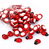 100pcs Mini Cute 3d Red Wooden Ladybird Ladybug Wall Stickers Small Beetle Sticker Ladybugs Pcs Double Faced Adhesive Tape Emulation Fridge Affixed With