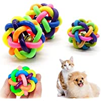 RIANZ Pet Dog/Cat Colorful Bouncy Rubber Chew Ball Toy with Bell for Puppies - Small (Pack of 1 Ball)