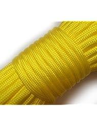 Paracord 550 100 ft 30 m | Ideal para el aire libre, el camping, el jardín o trenzar pulseras | Cuerda de paracaidismo (amarillo)