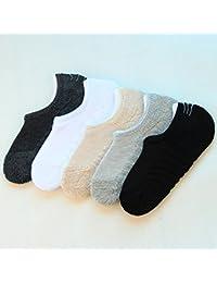 Excelente producto calcetines hombres y mujeres barco de primavera y verano otoño e invierno calcetines calcetines calcetines invisibles terry inferior toalla gruesa antideslizante de silicona caliente sudor absorbente 5 pares, mezcla de color