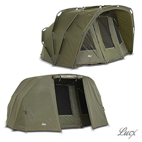 Lucx® Tiger Bivvy + Winterskin / 1-3 Mann Angelzelt ink. Überwurf / Karpfenzelt / Carp Dome with Overwrapc/ Fishing Tent / 10.000mm Wassersäule
