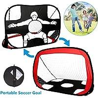 Yuanj 2 en 1 Pop Up Goal de Football des Enfants, Cible de tir Football Portable et Pliable avec Sac de Transport, Parfait pour Les Jeux intérieurs et extérieurs, Cadeau d'anniversaire pour Enfants