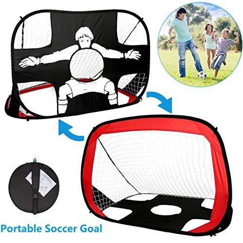 Yuanj Porta Calcio Pieghevole 2 1 Pop Up Portatile Porte Calcio Bambini con Borsa per Il Trasporto Perfetto per Allenamento di Calcio Indoor e