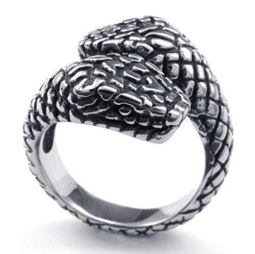 Schwarz Silber Snake Edelstahl Herren-Ringe Größe 62 (19.7) -- von Aooaz Schmuck