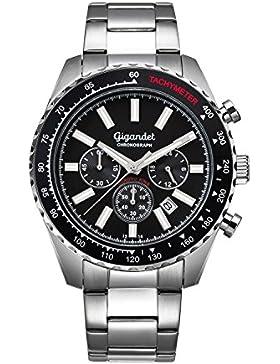 Gigandet Quarz Herren-Armbanduhr Chrono King Chronograph Uhr Datum Analog Edelstahlarmband Silber Schwarz G28-001